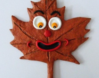 Autumn Leaf Folk Art Ornament