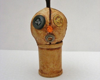 Primitive Halloween Steampunk Folk Art Jol Pumpkin Wood Spool Art Dol Mini OOAK