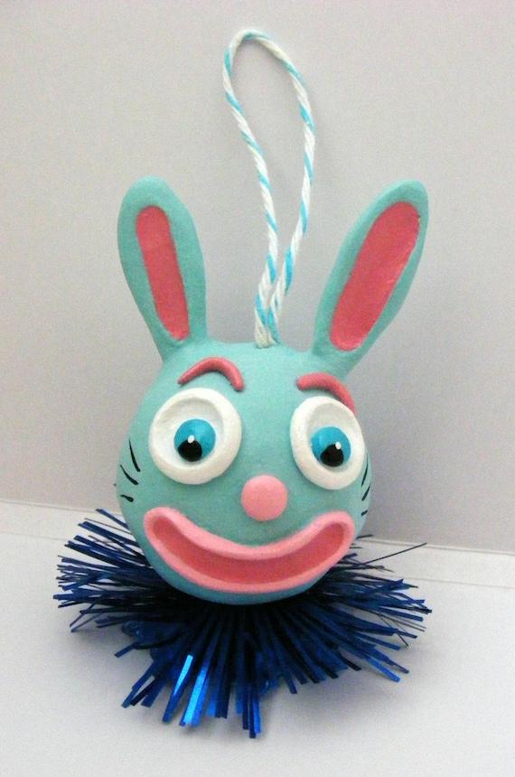 Funny Blue Bunny Ornament
