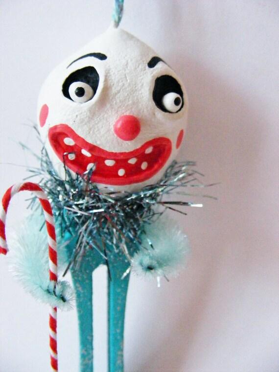 Snowman Clown Folk Art Ornament
