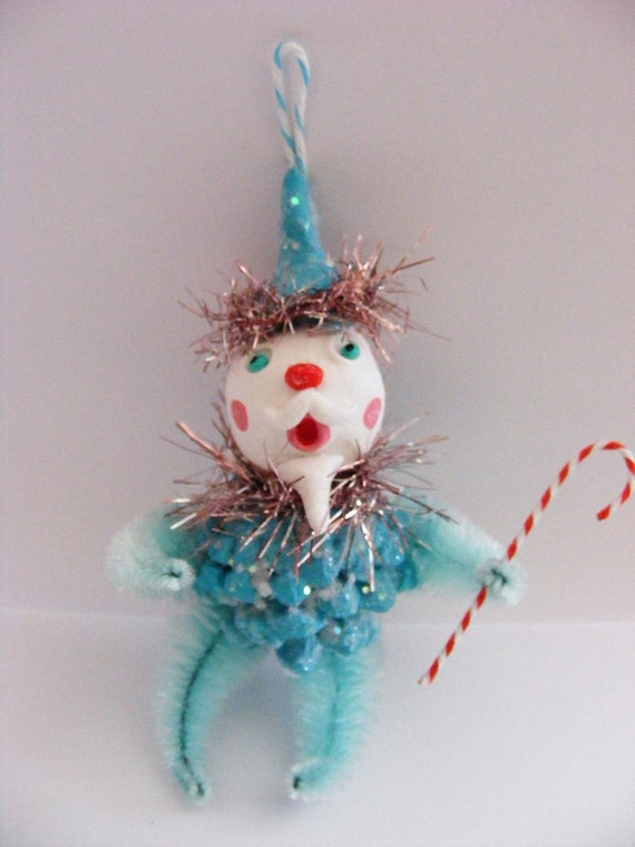 Vintage Style Glittered Pinecone Santa Folk Art Ornament