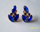 Hold for Sheila Vintage1950s 60s Clip Earrings Cobalt Blue Stones Jewelry
