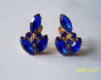 Vintage1950s 60s Clip Earrings Cobalt Blue Stones Jewelry