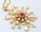 Gold Sunburst Necklace with Pink and Pink Opal Swarovski Crystals