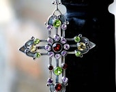 Analiese Gemstone and Sterling Cross Necklace