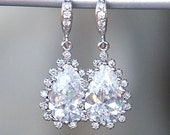 Gorgeous CZ Teardrops with Halo Cubic Zirconia on Jeweled Silver French Earrings