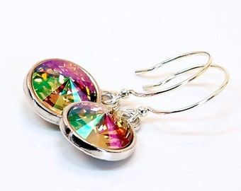 Colorful Swarovski Crystal and Sterling Silver Dangle Earrings