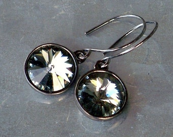 Black Diamond Swarovski Crystal and Oxidized Sterling Silver Earrings