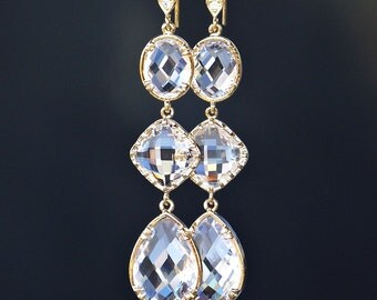 Clear Teardrop, Square and Oval Crystals Framed in Gold on Cubic Zirconia Detailed Gold French Earrings