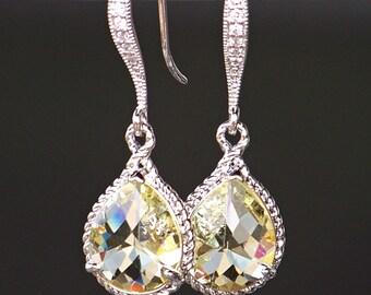 Lemon Yellow Crystal Teardrop Earrings in Silver
