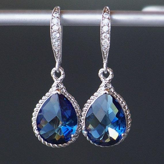 Sapphire Blue Crystal Teardrop Earrings in Silver