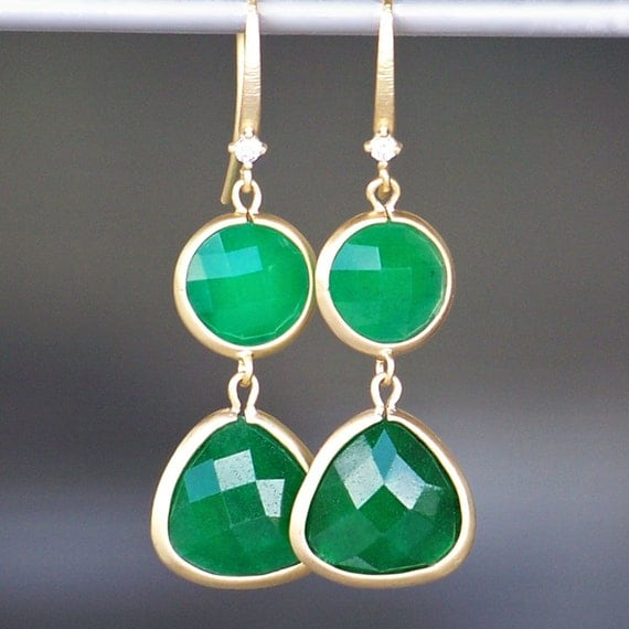 Sale/ Faceted Green Aventurine Framed in Gold with Gold and Crystal French Earrings