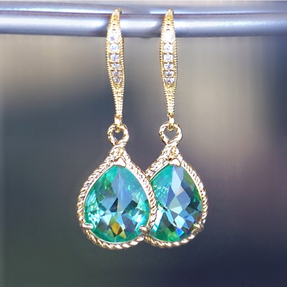 New Color/ Sea Glass Crystal Teardrops Framed in Gold, Hanging From French Jeweled Earrings