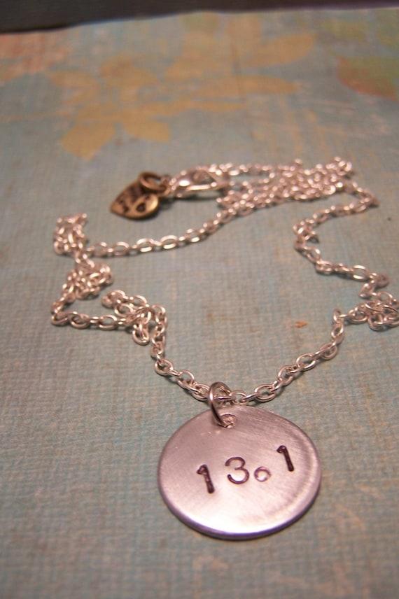 13.1 Half-Marathon Necklace ...For Runners...Marathon... Handstamped
