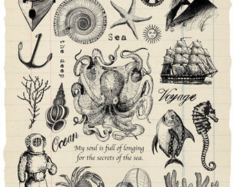 The Deep Rubber Stamp Collection - Jules Verne