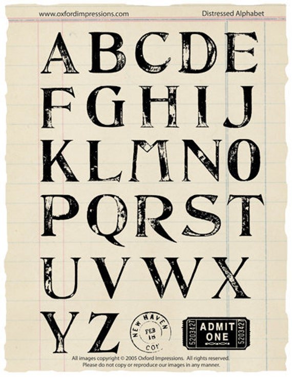 Large Distressed Alphabet Rubber stamp collection