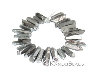 "Sale - Metallic Silver Coated Quartz Double Drilled crystal points 6"" strand Top and Bottom Drilled"