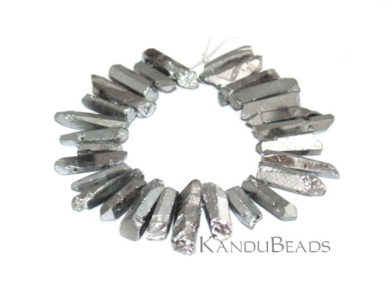 """Sale - Metallic Silver Coated Quartz Double Drilled crystal points 6"""" strand Top and Bottom Drilled"""