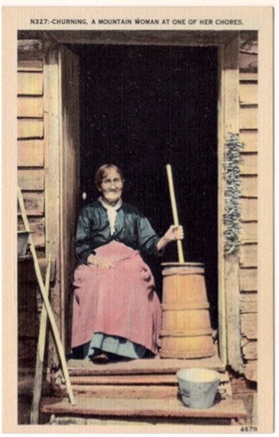 Vintage Postcard - Churning, A Mountain Woman doing Chores (Unused)