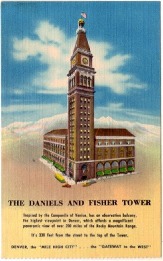 Vintage Colorado Postcard - The  Daniels and Fisher Tower, Denver (Unused)