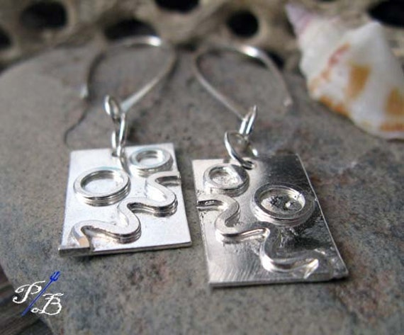 Clearance Sale. Funky sterling silver earrings. Rectangle, circles & waves. Shapes. Chic jewlery.  Artisan handmade gift for her. Crush.