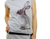 Rabbit tshirt dress - eco-friendly brown ink screenprint on heather grey cotton - sizes S, M, L