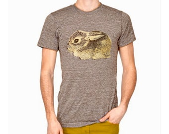 Baby Cottontail Rabbit triblend tshirt - eco friendly brown and gold ink screenprint on coffee - Adult Unisex Mens sizes XS, S, M, L, XL