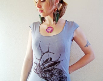 Jelk Jackalope tshirt - eco friendly brown ink screenprint on slate grey cotton scoop neck - womens sizes S, L