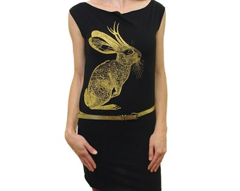Jackalope tshirt  dress - eco friendly gold ink screenprint on black cotton - womens sizes S, M, L