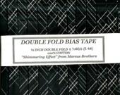 Handmade Double Fold Bias Tape - 6 Yards Black with SILVER Metallic Threads