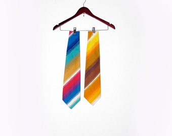 1970s Belly Warmer Ties, Vintage Ties for Men Bold Bright Stripes