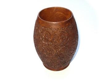 Carved Wood Vessel Functional Art Hardwood Carving Vase