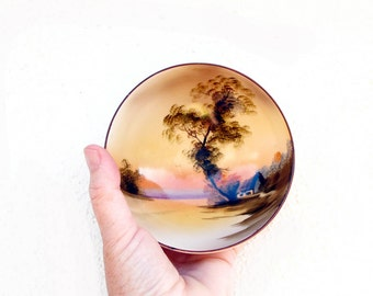 Noritake Footed Porcelain Bowl Hand Painted Cabin by the Lake