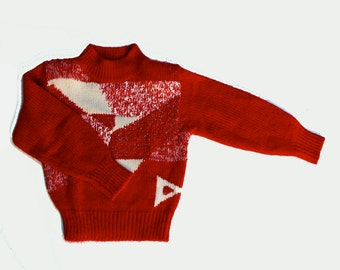 Vintage Sweater Red White Geometric Color patchwork, 80s Hipster Vintage Sweater Bold Intarsia Patchwork RED Acrylic Angora sz small Petites