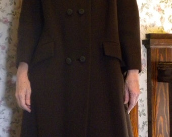 CLEARANCE 1960s Brown Winter Coat With Fur Collar, Small or Medium, Peggy Olsen