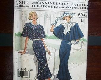 Vtg Simplicity Dress Caplet Butterfly Sleeves 60th Anniversary Town Dress Pattern Vtg 1988 #9360