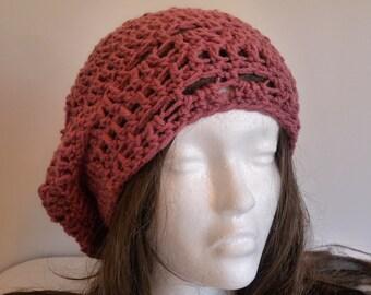 Crochet Rasta Hat, Beanie, Knit, Pink, Rose, Women, Teen, Slouchy, Tam, Beret, Knit