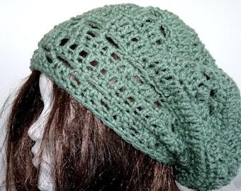 Crochet Rasta Slouchy Hat Sage Green, Beanie for Women and Teens