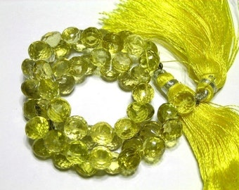 Lemon quartz microfaceted onions 6 pcs 6mm