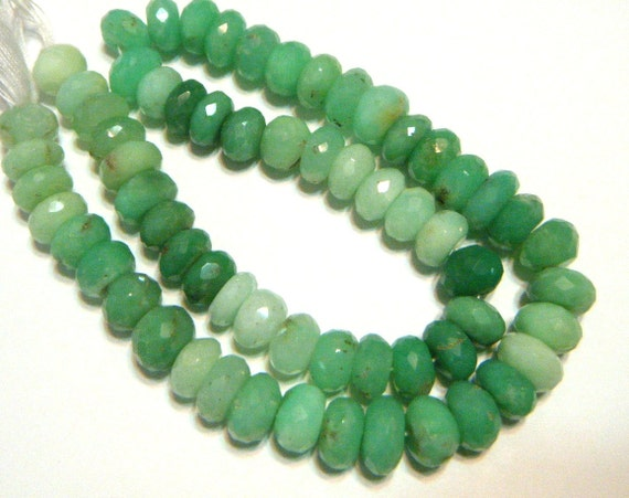 HUGE Chrysoprase FACETED rondells 7 inch strand shaded green Australian chrysoprase 7mm stones
