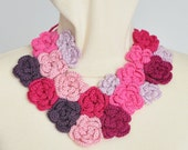 RESERVED - NY SALE - Crochet Multicolor 3D Roses Bib Nicklace