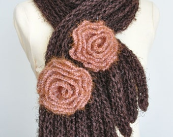 COFFEE TIME - Hand Knitted Chunky Yarn Scarf with Crochet Flowers Applique