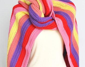NY SALE -Warm Rainbow - Crochet Multicolor Stripe Long Chunky Scarf/Shawl/Wrap