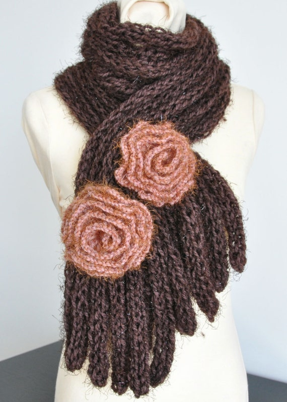 Coffee Time Hand Knitted Chunky Yarn Scarf With Crochet