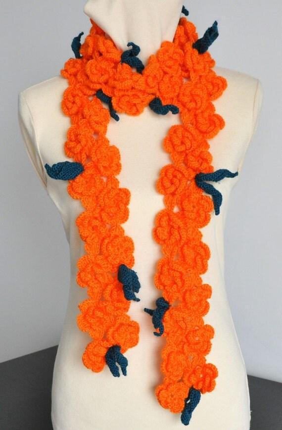 SALE - Bright Day - Crochet Orange 3D Flowers Scarf