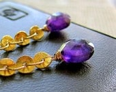 Purple Amethyst Earrings Gold Chandelier Dangle Gemstone Long Earrings Bridesmaid Gift Bridal Wedding Jewelry February Birthstone