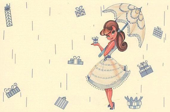 Bridal Shower Invitation Set of 12 Pinup Girl Style Wedding – Blank Wedding Shower Invitations