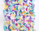 Abstract painting jewel tones pink purple teal yellow white modern home decor - Fresh Impressions 17 by Jessica Torrant - Free US Shipping