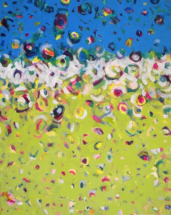 16x20 original painting canvas art turquoise lime - Rejoice
