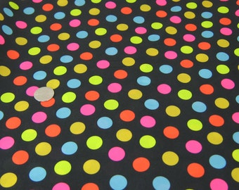 PUL Diaper Cut -  Multi Color Dots on Black Background - Waterproof Diaper Fabric - Polka Dot PUL Diaper Cut - Girl Diaper Cover Fabric